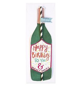 Curly Girl Design WIne Bottle Straw Card (Happy Birthday)