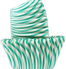 Teal Stripe Baking Cup