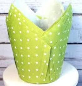 Tulip Baking Cups (Lime Green Dot)
