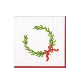 """Caspari Christmas Laurel Wreath with Initial """"T"""" Beverage Napkin (20ct)"""