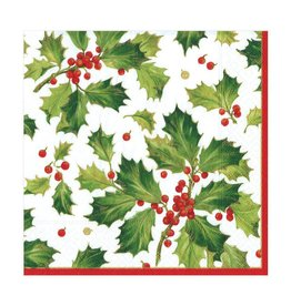 Caspari Gilded Holly White Luncheon Napkin(20 ct)