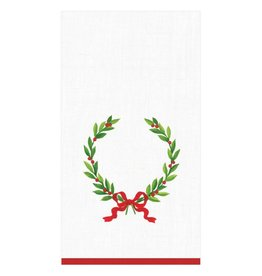 "Caspari Christmas Laurel Wreath with Initial ""H"" Guest Towel (15 ct)"