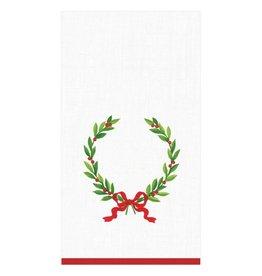 "Caspari Christmas Laurel Wreath with Initial ""H"" Guest Towel (15 ct)"