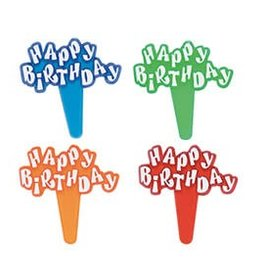 Decopac Happy Birthday Jewel Picks (red,blue,orange,green) 12/pkg