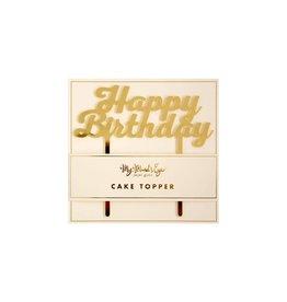 My Mind's Eye Gold Acyrlic Happy Birthday Cake Topper