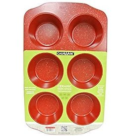 Casa Ware Muffin Pan Jumbo 6 Cup (Red Granite)