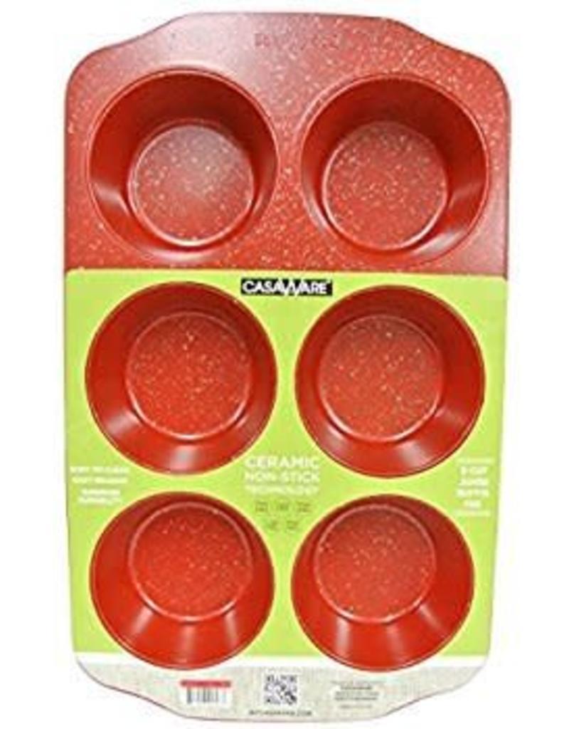 Casa Ware Muffin Pan Jumbo 6 Cup (Red Granite)