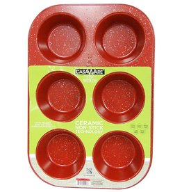 Casa Ware Muffin Pan 6 Cup (Red Granite)