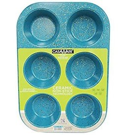 Casa Ware Muffin Pan 6 Cup (Blue Granite)