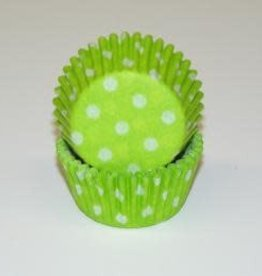 Viking Polka Dot Mini Baking Cups Lime Green (1000ct)