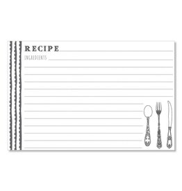 CR Gibson 4x6 Recipe Cards (Delicious Scallops - Charcoal) set of 40