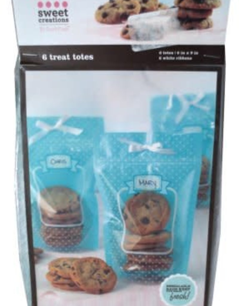 Sweet Creations Treat Totes, 6pk ( Blue Dot)