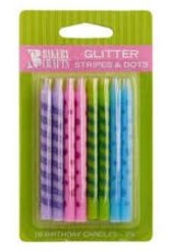 Decopac Glitter Stripe and Dot Candles