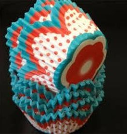 Red and Turquoise Flower Baking Cups (30-40ct)