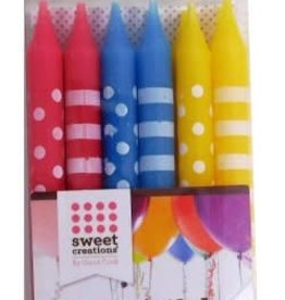 Sweet Creations Birthday Candles Stripes and Dots - 12 ct.
