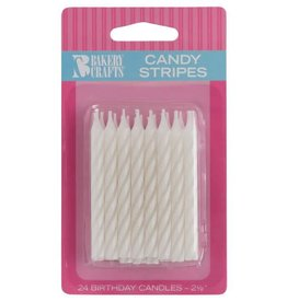 Decopac Candy Stripe Candles (White) 24ct