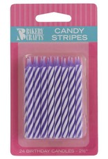 Decopac Candy Stripe Candles (Purple)-24ct