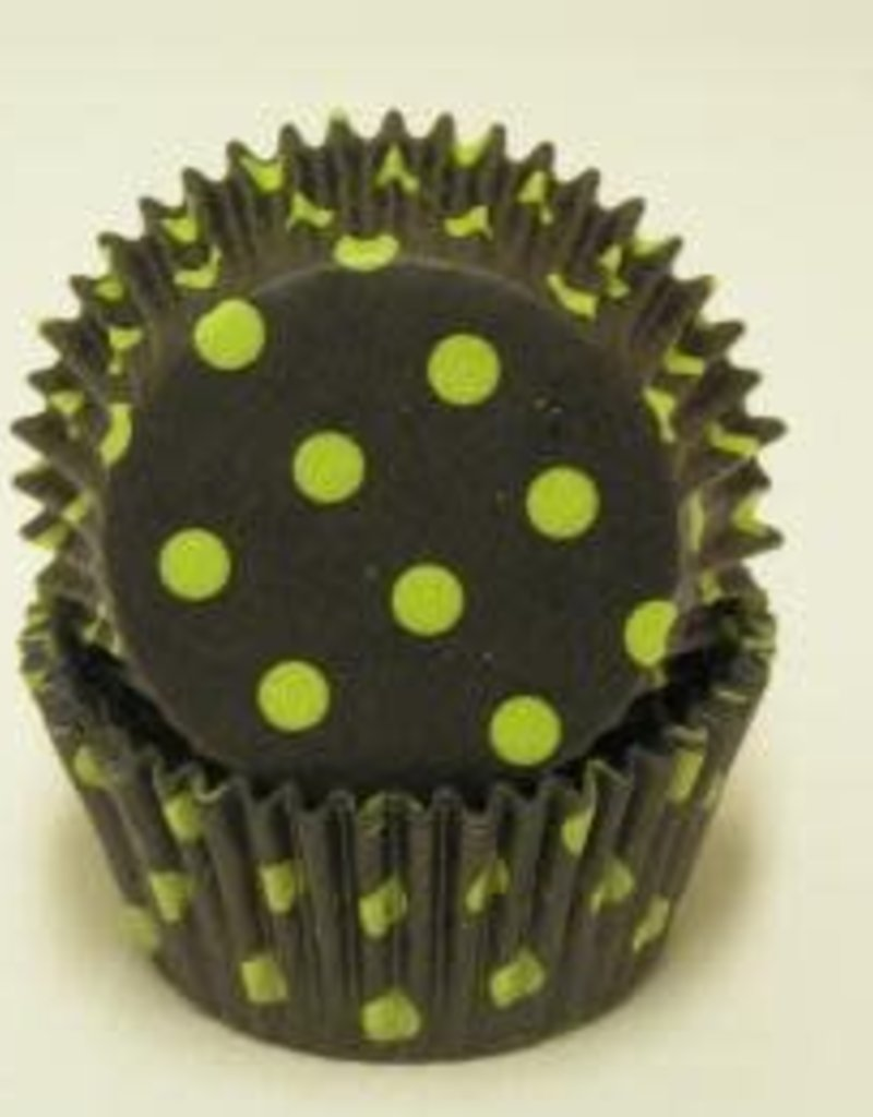 Black and Lime Green Polka Dot Baking Cups