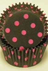 Viking Black and Pink Polka Dot Baking Cups