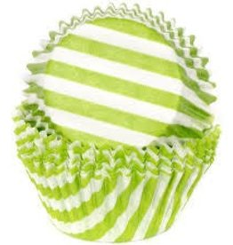 Viking Green (Lime) Wide Stripe Baking Cups (30-35ct)