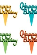 Decopac Happy Birthday Script Cupcake Picks (Blue,Green,Orange,Yellow)