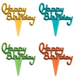Decopac Happy Birthday Script Cupcake Picks (Blue,Green,Orange,Yellow)