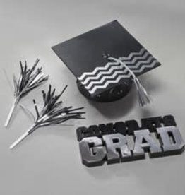 Decopac Congrats Grad and Cap Cake Topper - Silver