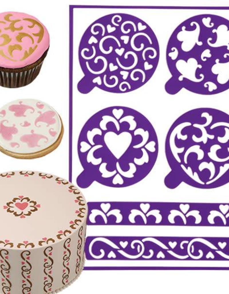 Wilton Stick and Stay Stencils (Hearts)
