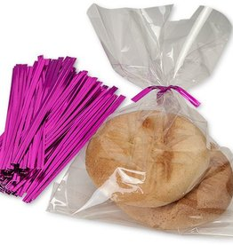Nashville Wraps Twist Ties (Hot Pink Metallic) Pkg of 25