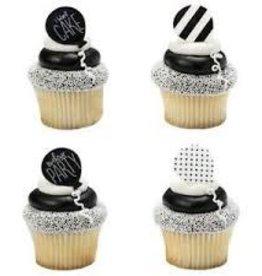 Decopac Black and White Birthday Rings