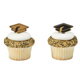 Decopac Black and Gold Grad Hat Picks (12/pkg)
