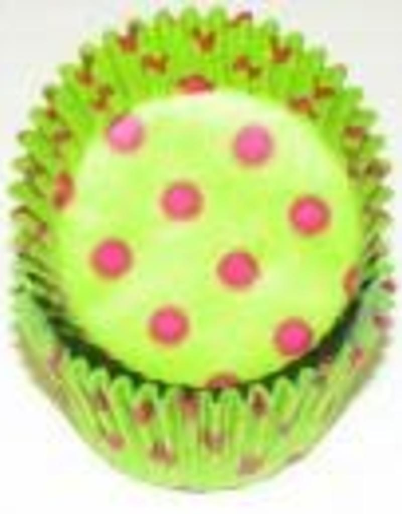 Viking Lime with Hot Pink Polka Dots Baking Cups (30-35ct)