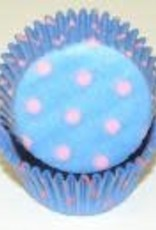 Viking Light Blue with Light Pink Dots Baking Cups (30-35ct)