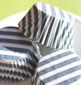 Viking Blue (Slate) Wide Stripe Baking Cups (30-35/pkg)