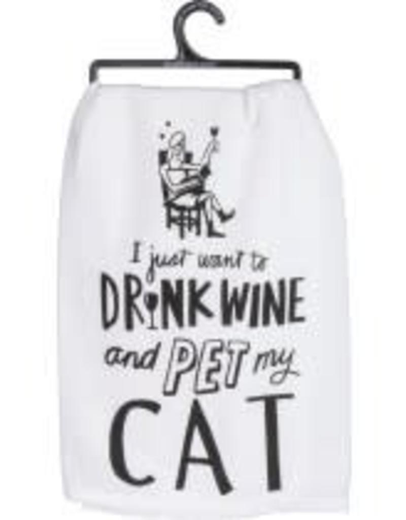 Primitives By Kathy Dish Towel - Pet My Cat