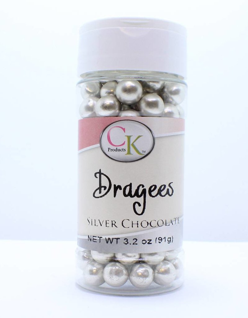 CK Products Metallic Silver Chocolate Dragees, 5mm