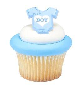 "Decopac ""It's A Boy"" Onesie Cupcake Rings (12/pkg)"