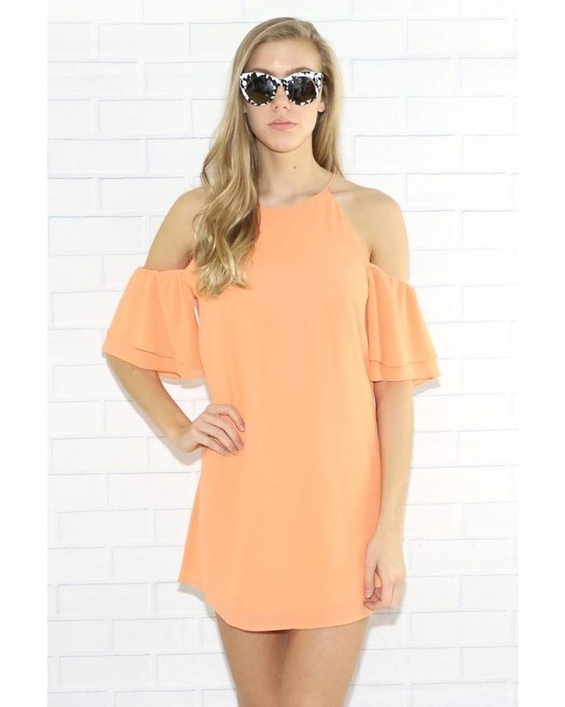 yd108323 cold shoulder double layer dress