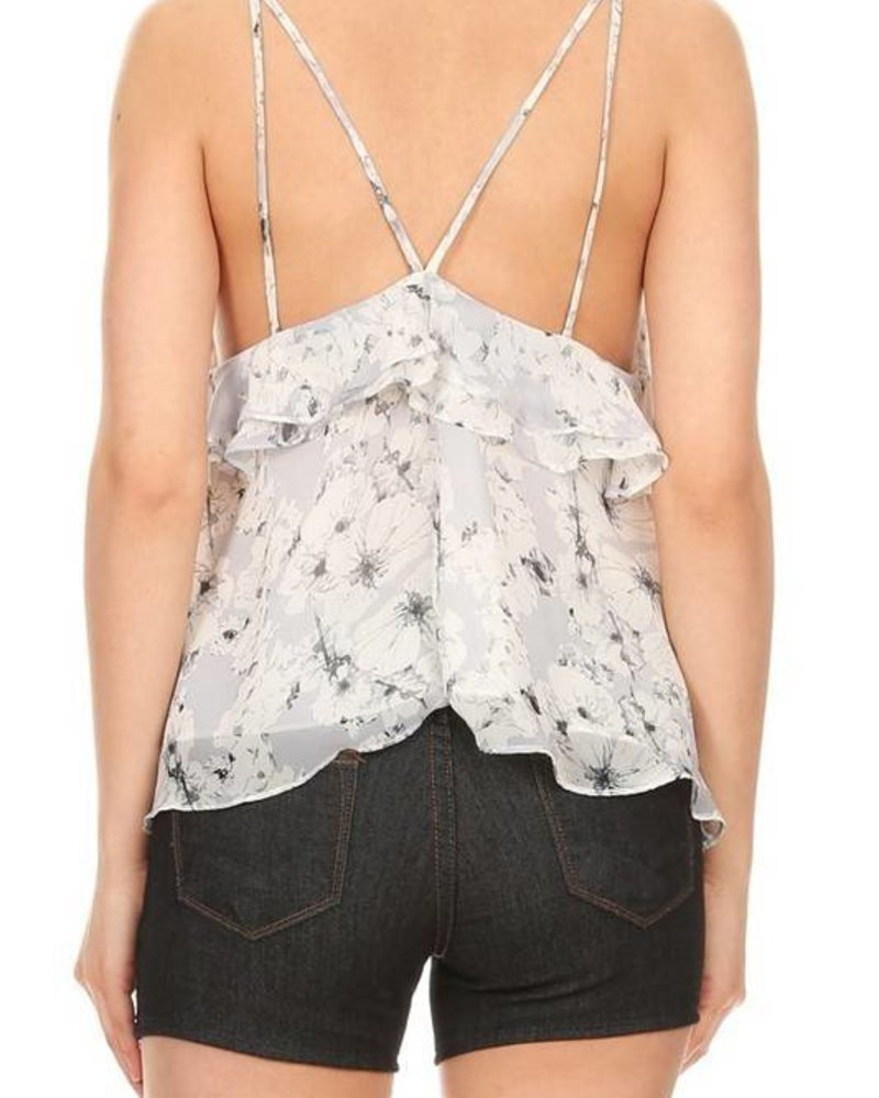 On Twelfth 1230899 floral ruffle top
