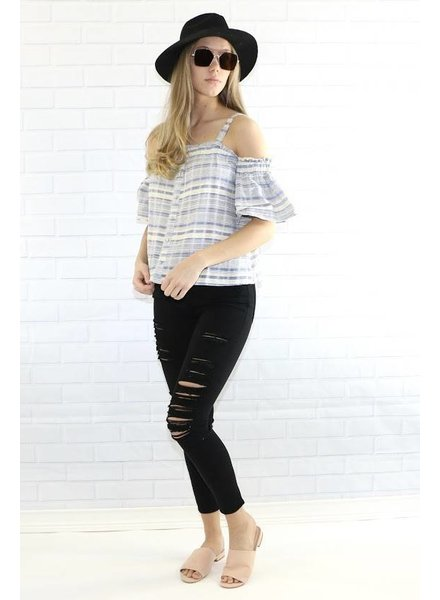 mitto shop s10930 cold shoulder pinstripe blouse