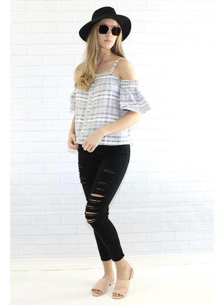 s10930 cold shoulder pinstripe blouse