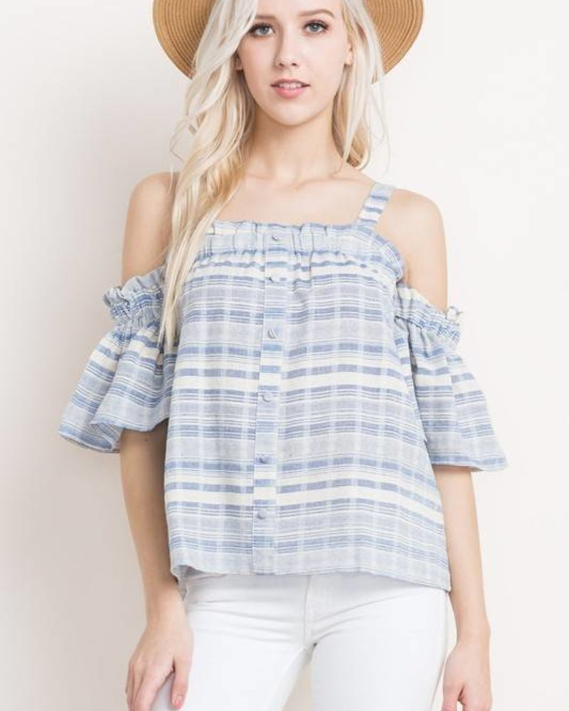 mitto shop s10930 cold shoulder pinstripe blouse
