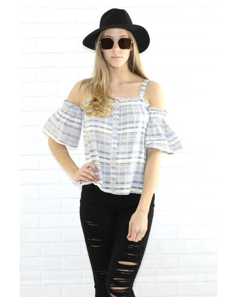 s10930 cold shoulder pinstripe blouse