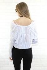 Mustard Seed s10107 cold shoulder pinstripe shirt