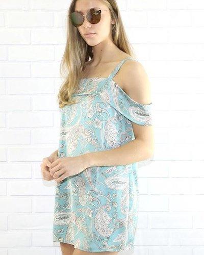 final touch d15628a satin print over shoulder dress