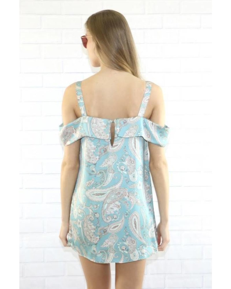 final touch d15628a satin print over shoulder dress