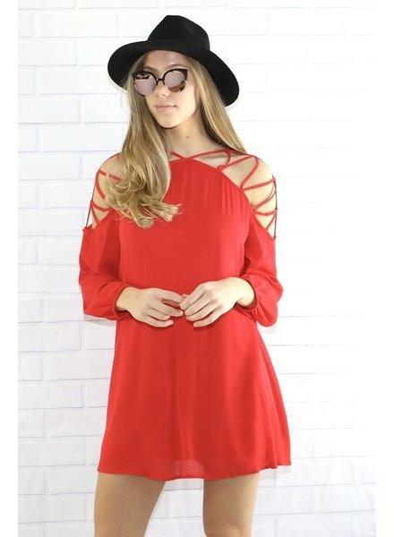 40803 slit shoulder mini dress