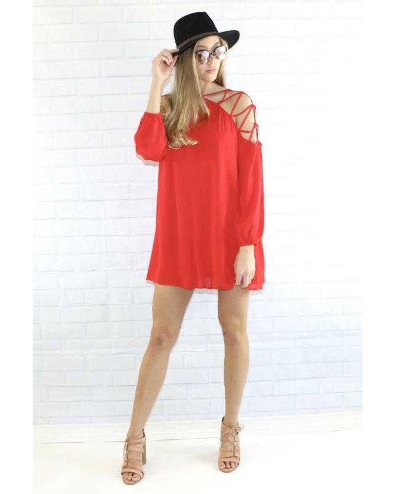 mitto shop 40803 slit shoulder mini dress