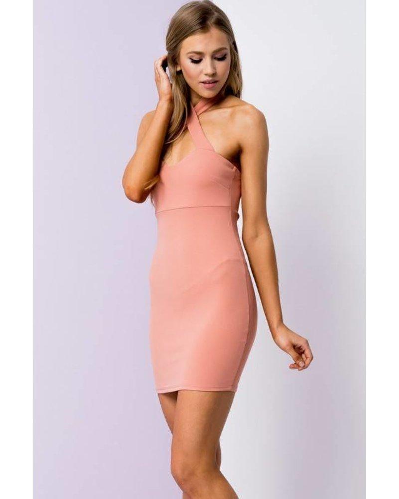 bd8463 cross neck halter dress