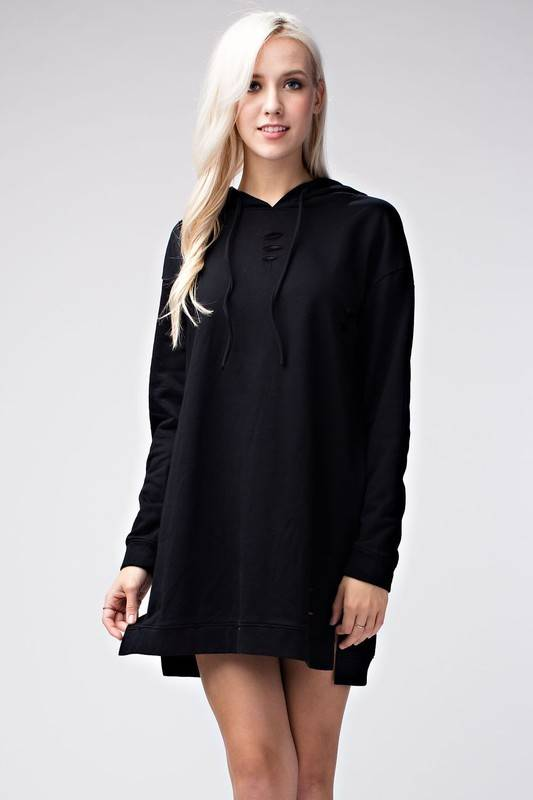 Honey Punch 6id1749a distressed hoodie dress